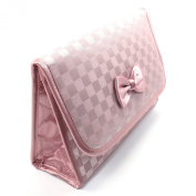 Cosmetic Bag with a Mirror, Large Size, Satin Large Chequered Pink