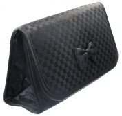 Cosmetic Bag with a Mirror, Small Size, Satin Small Chequered Black