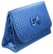 Cosmetic Bag with a Mirror, Large Size, Satin Small Chequered Blue