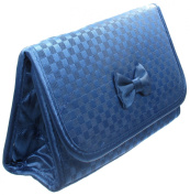 Cosmetic Bag with a Mirror, Small Size, Satin Small Chequered Blue