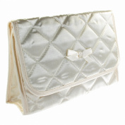 Cosmetic Bag with a Mirror, Small Size, Satin Ivory