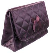 Cosmetic Bag with a Mirror, Large Size, Satin Purple