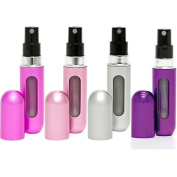 Travalo Classic Refillable Travel Perfume Bottle Atomizers, Hot Pink/Perfect Pink/Silver/Purple, 4 Pack
