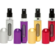 Travalo Classic Refillable Travel Perfume Bottle Atomizers, Silver/Purple/Gold/Red, 4 Pack