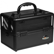 Sunrise 2-Tiers Trays Organiser Clear Top Cosmetic Makeup Travel Train Case with Mirror, Shoulder Strap, Black Smooth
