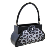 Rose Gem Leopard Print Handbag Makeup Brush Holder Silver