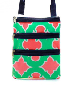 Geometric Small Hipster Cross Body Swing Pack Messenger Handbag Green & Pink