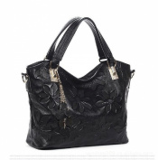Zzfab Women's New Fashion Handbag High Quality Genuine Leather Flower Print Black Shoulder Bags Cross Body Tote Bag