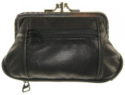 Womens Leather Metal Frame Double Kiss Lock Coin or Change Purse