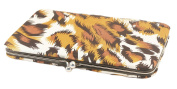 Satin Leopard Clutch Wallet With Clasp 18cm W