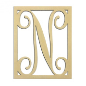 36cm N Monogram Capital Letter Unfinished DIY Wood Craft To Sell Ready to Paint Wood Wooden Cutout