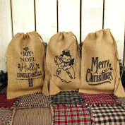 Set of 3 Christmas Designs Burlap Drawstring Gift Bag 8 x 12 by Jubilee Creative Studio