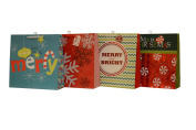 Christmas Gift bags, Oversize jumbo square, 8 Bags, 2 of each design