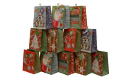 Assorted Christmas Gift Bags, glitter accents, medium, pack of 12 bags