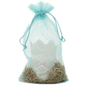 30 Organza Fabric Gift Bags Goody Pouches Party Gift Bags Aqua Polka Dot Medium 17cm By 30cm