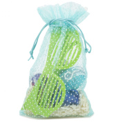 30 Organza Blue Polka Dot Gift Party Favour Fabric Birthday Treat Goody Bag 14cm By 23cm