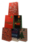 Christmas Gift bags with glitter accents, X-Large, 12 Bags, 2 of each design