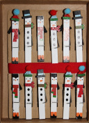 Snowman Christmas Card Garland - 1 Wood Clips with Red Ribbon