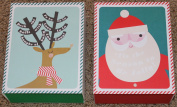 Meri Meri Be Jolly Santa and Reindeer 2 Gift Boxes with Matching Tissue Paper - 18cm X 23cm X 8.3cm