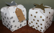 Meri Meri Confetti Boxes - 4 Bow Boxes in 2 Designs Including Matching Tissue Paper - 11cm X 11cm x 13cm