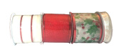 Wire Edge Christmas Ribbon in Coordinating Red and Green Colour with Mesh Ribbon