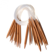 """Celine lin 18 sizes 32 inch""""(80cm) Circular Carbonised Bamboo Knitting Needles"""
