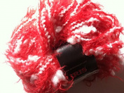 Dark Horse Yarns Iris - Red Eyelash with White Thin Thick Squiggle 50 Gramme