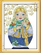"""NKF Cross Stitch Kit, Russian doll (7),14CT Counted,28cmX39cm or 10.92""""X15.21"""""""