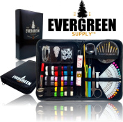 SEWING KIT ★ THE MOST EXPANSIVE & HIGHEST QUALITY KIT ★ - Includes All You Need & More! Perfect as a Beginner Sewing Kit, Travel Sewing Kit, Campers, Emergency Sewing Kit & More! - Evergreen Supply