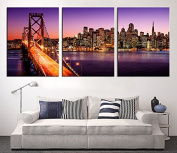 Large Canvas Print - San Francisco Night Skyline Cityscape, San Francisco Skyline and Bay Bridge at Sunset, California Canvas Print - 50cm x 80cm Each Panel- 150cm x 80cm Total