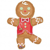 XL 90cm Candy Gingerbread Man Christmas Mylar Foil Balloon Super Shape Party