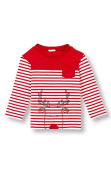 Le Top Baby Boys' Striped Rudolph Reindeer Christmas Shirt, 12 Months