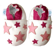 SOFT LEATHER BABY SHOES WITH SUEDE SOLE - WHITE AND PINK STARS - DOTTY FISH