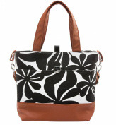 Urban Mom, Stylish Nappy Bag, Black Floral Tote