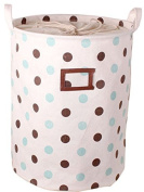 GreenForest Collapsible Laundry Storage bucket Fabric Storage Basket with Green Dot and Coffee Dot