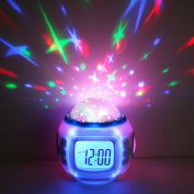 E Support Romantic LED 7 Colour Changing Music Star Sky Projection Alarm Clock Calendar Night Light with Sleeping Music