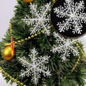 Malloom 30Pcs Christmas Tree Hanging Snowflake Decoration White Snowflake Ornaments Christmas Holiday Party Home Decor