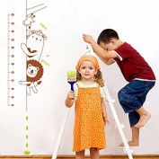Dnven (90cm w X 150cm h) Lion Bear Giraffe Hiding Grows up Height Measurement Growth Chart Measures with Quote Wall Stickers Decals for Kids Room