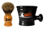 Classic Samurai Men Premium Shaving Set - 100% Pure Badger Shaving Brush and Classic Samurai Porcelain Shaving Mug