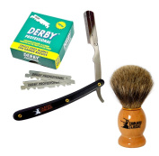 Classic Samurai Men Premium Shaving Set with CS-101B Stainless Steel Professional Barber Straight Edge Razor with 100 Count Derby Single Edge Razor Blades, 100% Pure Badger Shaving Brush