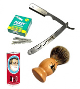 Classic Samurai Men Premium Shaving Set with CS-102 Stainless Steel Professional Barber Straight Edge Razor with 100 Count Derby Single Edge Razor Blades, 100% Pure Badger Shaving Brush, Arko Stick Soap
