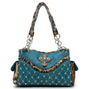 Ritz Enterprises CR659-TQ Western Rhinestone Studded Shoulder Bag With Leopard Trim Turquoise
