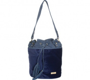 Aryana Adi-12-Bl Chic Blue Drawstring Bucket Style Zip Closure Womens Handbag