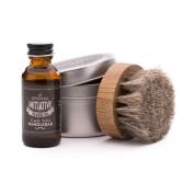 Initiative Beard Oil with Horsehair Beard Oil Brush Set | Natural, Citrus Scent