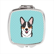 Carolines Treasures BB1193SCM Checkerboard Blue Corgi Compact Mirror 2.75 x 3 x .7.6cm .