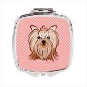 Carolines Treasures BB1204SCM Checkerboard Pink Yorkie Yorkishire Terrier Compact Mirror 2.75 x 3 x .7.6cm .