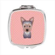 Carolines Treasures BB1232SCM Checkerboard Pink Yorkie Puppy Compact Mirror 2.75 x 3 x .7.6cm .