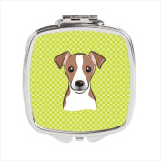 Carolines Treasures BB1322SCM Checkerboard Lime Green Jack Russell Terrier Compact Mirror 2.75 x 3 x .7.6cm .