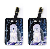 Carolines Treasures SS8406BT Pair of 2 Starry Night Old English Sheepdog Luggage Tags