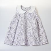 Little Ashkim BGCDRESS1824 Peter Pan Collar Girl Dress - White With Flower Prints 18-24 Months